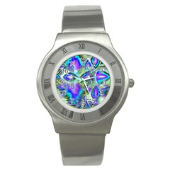 Abstract Peacock Celebration, Golden Violet Teal Stainless Steel Watch (slim) by DianeClancy