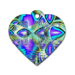 Abstract Peacock Celebration, Golden Violet Teal Dog Tag Heart (one Sided)  by DianeClancy