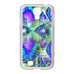 Abstract Peacock Celebration, Golden Violet Teal Samsung Galaxy S4 I9500/ I9505 Case (white) by DianeClancy