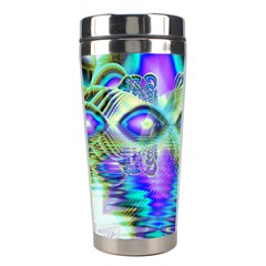 Abstract Peacock Celebration, Golden Violet Teal Stainless Steel Travel Tumbler by DianeClancy