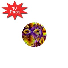 Golden Violet Crystal Palace, Abstract Cosmic Explosion 1  Mini Button Magnet (10 Pack) by DianeClancy