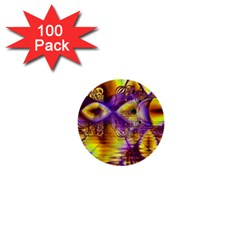 Golden Violet Crystal Palace, Abstract Cosmic Explosion 1  Mini Button (100 Pack) by DianeClancy