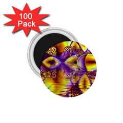 Golden Violet Crystal Palace, Abstract Cosmic Explosion 1 75  Button Magnet (100 Pack) by DianeClancy