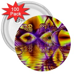 Golden Violet Crystal Palace, Abstract Cosmic Explosion 3  Button (100 Pack) by DianeClancy