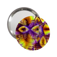 Golden Violet Crystal Palace, Abstract Cosmic Explosion Handbag Mirror (2 25 ) by DianeClancy