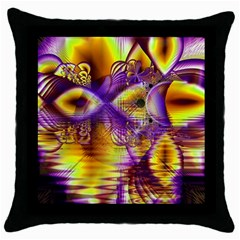 Golden Violet Crystal Palace, Abstract Cosmic Explosion Black Throw Pillow Case by DianeClancy