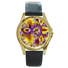 Golden Violet Crystal Palace, Abstract Cosmic Explosion Round Leather Watch (gold Rim)  by DianeClancy