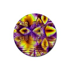 Golden Violet Crystal Palace, Abstract Cosmic Explosion Drink Coaster (round) by DianeClancy