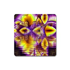 Golden Violet Crystal Palace, Abstract Cosmic Explosion Magnet (square) by DianeClancy