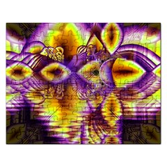 Golden Violet Crystal Palace, Abstract Cosmic Explosion Jigsaw Puzzle (rectangle) by DianeClancy