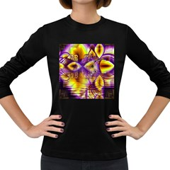Golden Violet Crystal Palace, Abstract Cosmic Explosion Women s Long Sleeve T Shirt (dark Colored) by DianeClancy