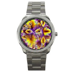 Golden Violet Crystal Palace, Abstract Cosmic Explosion Sport Metal Watch by DianeClancy