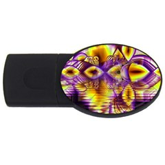 Golden Violet Crystal Palace, Abstract Cosmic Explosion 4gb Usb Flash Drive (oval) by DianeClancy