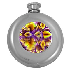Golden Violet Crystal Palace, Abstract Cosmic Explosion Hip Flask (round) by DianeClancy