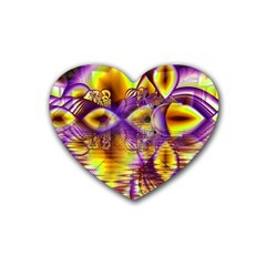 Golden Violet Crystal Palace, Abstract Cosmic Explosion Drink Coasters (heart) by DianeClancy