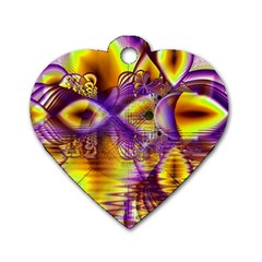 Golden Violet Crystal Palace, Abstract Cosmic Explosion Dog Tag Heart (one Sided)  by DianeClancy