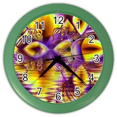 Golden Violet Crystal Palace, Abstract Cosmic Explosion Wall Clock (color) by DianeClancy