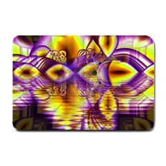 Golden Violet Crystal Palace, Abstract Cosmic Explosion Small Door Mat by DianeClancy