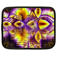 Golden Violet Crystal Palace, Abstract Cosmic Explosion Netbook Sleeve (large) by DianeClancy