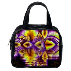 Golden Violet Crystal Palace, Abstract Cosmic Explosion Classic Handbag (one Side) by DianeClancy