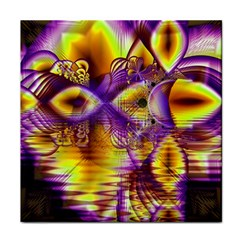 Golden Violet Crystal Palace, Abstract Cosmic Explosion Face Towel by DianeClancy