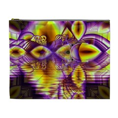Golden Violet Crystal Palace, Abstract Cosmic Explosion Cosmetic Bag (xl) by DianeClancy
