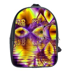 Golden Violet Crystal Palace, Abstract Cosmic Explosion School Bag (large) by DianeClancy