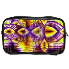 Golden Violet Crystal Palace, Abstract Cosmic Explosion Travel Toiletry Bag (two Sides) by DianeClancy