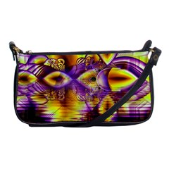 Golden Violet Crystal Palace, Abstract Cosmic Explosion Evening Bag by DianeClancy