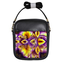 Golden Violet Crystal Palace, Abstract Cosmic Explosion Girl s Sling Bag by DianeClancy