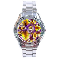 Golden Violet Crystal Palace, Abstract Cosmic Explosion Stainless Steel Watch by DianeClancy