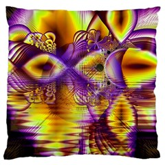 Golden Violet Crystal Palace, Abstract Cosmic Explosion Large Cushion Case (two Sided)  by DianeClancy