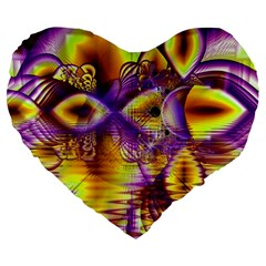 Golden Violet Crystal Palace, Abstract Cosmic Explosion 19  Premium Heart Shape Cushion by DianeClancy