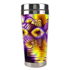 Golden Violet Crystal Palace, Abstract Cosmic Explosion Stainless Steel Travel Tumbler by DianeClancy