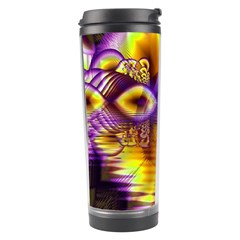 Golden Violet Crystal Palace, Abstract Cosmic Explosion Travel Tumbler by DianeClancy
