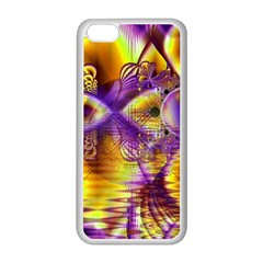 Golden Violet Crystal Palace, Abstract Cosmic Explosion Apple Iphone 5c Seamless Case (white) by DianeClancy