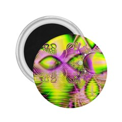 Raspberry Lime Mystical Magical Lake, Abstract  2 25  Button Magnet by DianeClancy