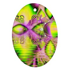 Raspberry Lime Mystical Magical Lake, Abstract  Oval Ornament