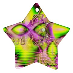 Raspberry Lime Mystical Magical Lake, Abstract  Star Ornament by DianeClancy