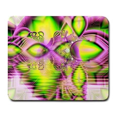 Raspberry Lime Mystical Magical Lake, Abstract  Large Mouse Pad (rectangle) by DianeClancy