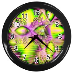Raspberry Lime Mystical Magical Lake, Abstract  Wall Clock (black) by DianeClancy