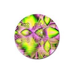 Raspberry Lime Mystical Magical Lake, Abstract  Magnet 3  (round) by DianeClancy