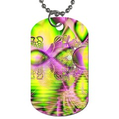Raspberry Lime Mystical Magical Lake, Abstract  Dog Tag (one Sided) by DianeClancy