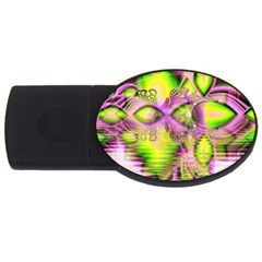 Raspberry Lime Mystical Magical Lake, Abstract  2gb Usb Flash Drive (oval) by DianeClancy