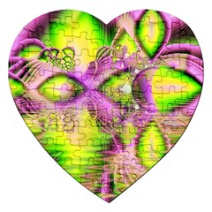 Raspberry Lime Mystical Magical Lake, Abstract  Jigsaw Puzzle (heart) by DianeClancy