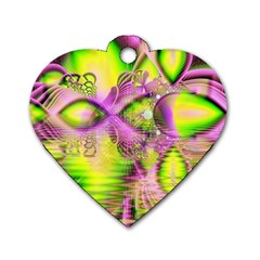 Raspberry Lime Mystical Magical Lake, Abstract  Dog Tag Heart (two Sided) by DianeClancy