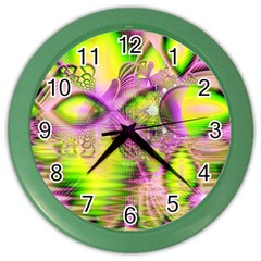 Raspberry Lime Mystical Magical Lake, Abstract  Wall Clock (color) by DianeClancy