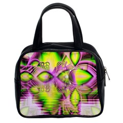 Raspberry Lime Mystical Magical Lake, Abstract  Classic Handbag (two Sides) by DianeClancy