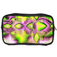 Raspberry Lime Mystical Magical Lake, Abstract  Travel Toiletry Bag (two Sides) by DianeClancy