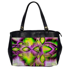 Raspberry Lime Mystical Magical Lake, Abstract  Oversize Office Handbag (one Side)